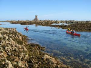 Sea kayaking the gullies in Jersey