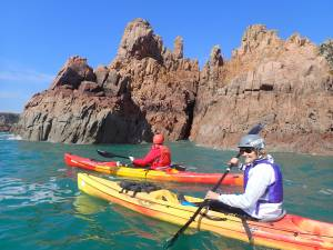 Kayaking on the south west coast of Jersey
